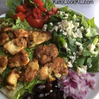 Kalamata Keto Salad with Parmesan Chicken