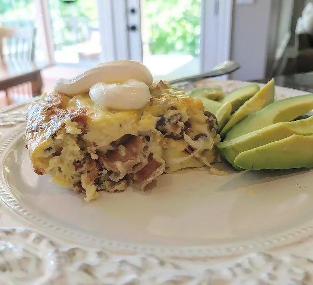cheesy meaty egg bake