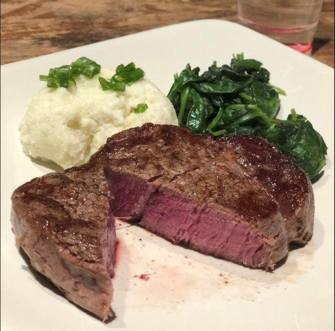 Sous Vide Filet Mignon, Sour Cream and Cheddar Cauliflower Mash, and Sauteed Spinach