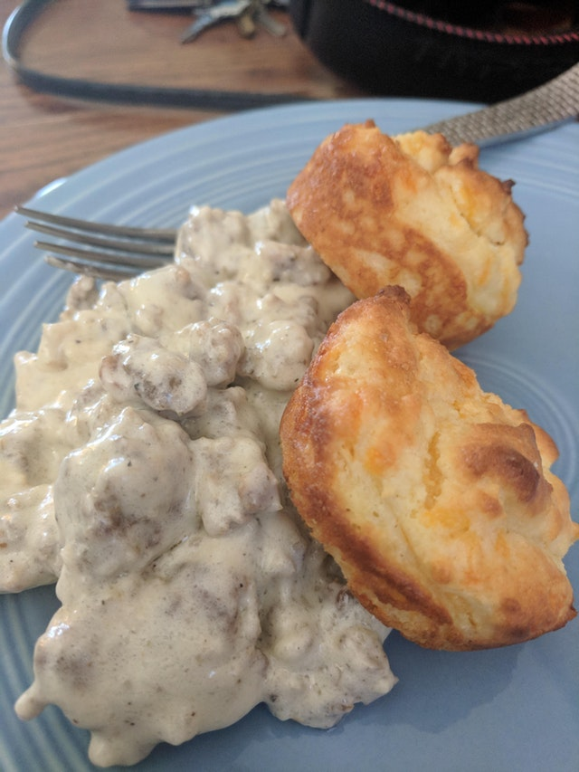 Sausage gravy and cheddar biscuits