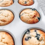 Pan of [keto] blueberry muffins