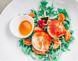 Seared Scallops + Baby Arugula with Orange Blossom Vinaigrette