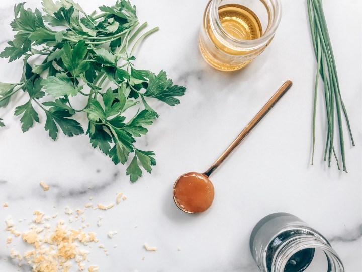 Parsley, chives, olive oil, honey, lemon zest, balsamic vinegar