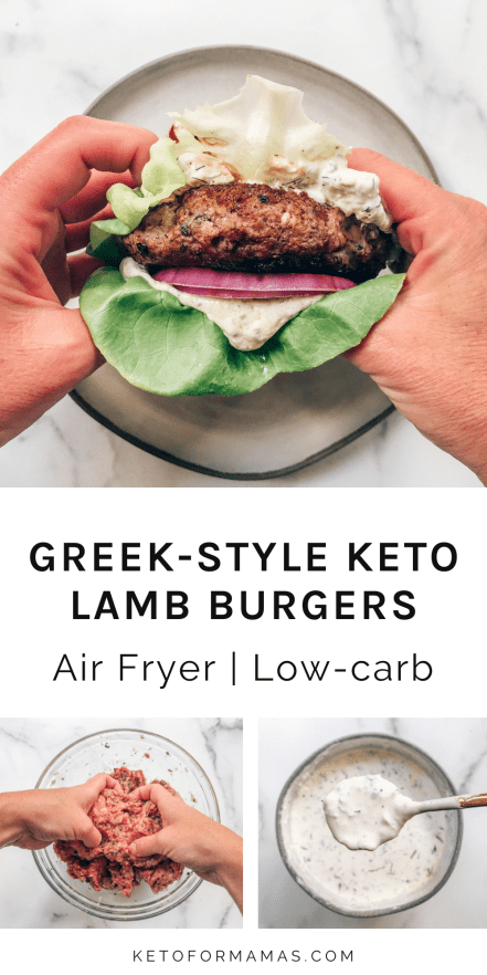 Lamb burger wrapped in butter lettuce with red onion and tzatziki sauce