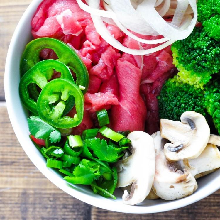 Low Carb Pho - Vietnamese Noodle Soup [Recipe]   KETOGASM.com #keto #ketogenic #lowcarb #lchf #atkins #pressurecooker #recipes #pho #noodlesoup #soup #vietnamese