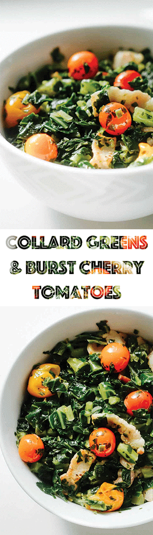Keto Collard Greens Recipe with Bacon & Burst Cherry Tomatoes - LOW CARB