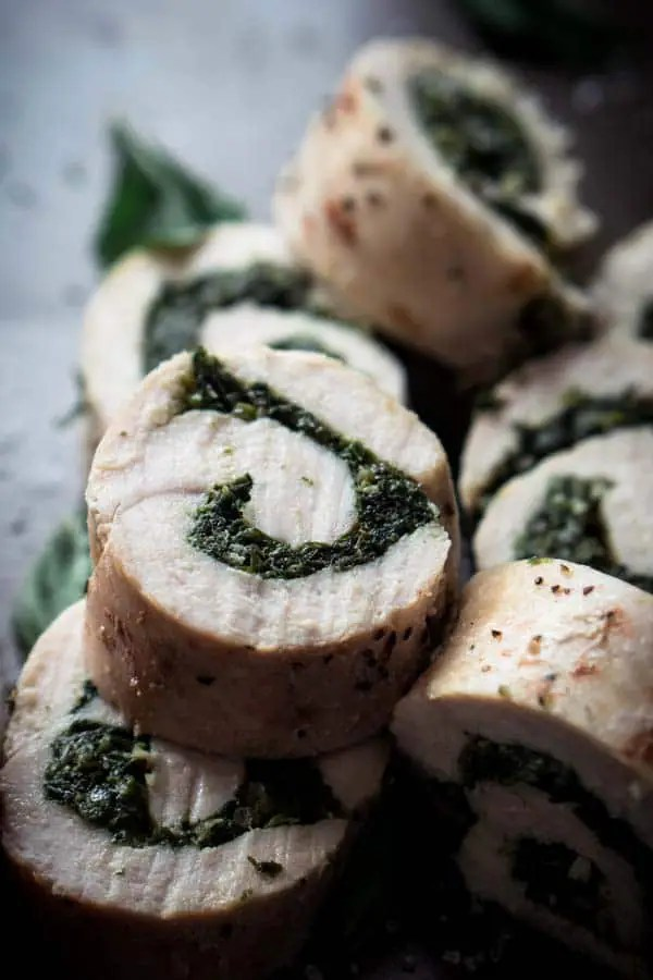 Low Carb Pesto Recipe with Basil, Spinach, & Parmesan Stuffed in Chicken