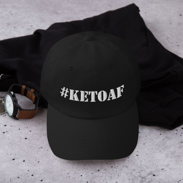 Stencil #KETOAF (White) - Embroidered Dad Hat 1
