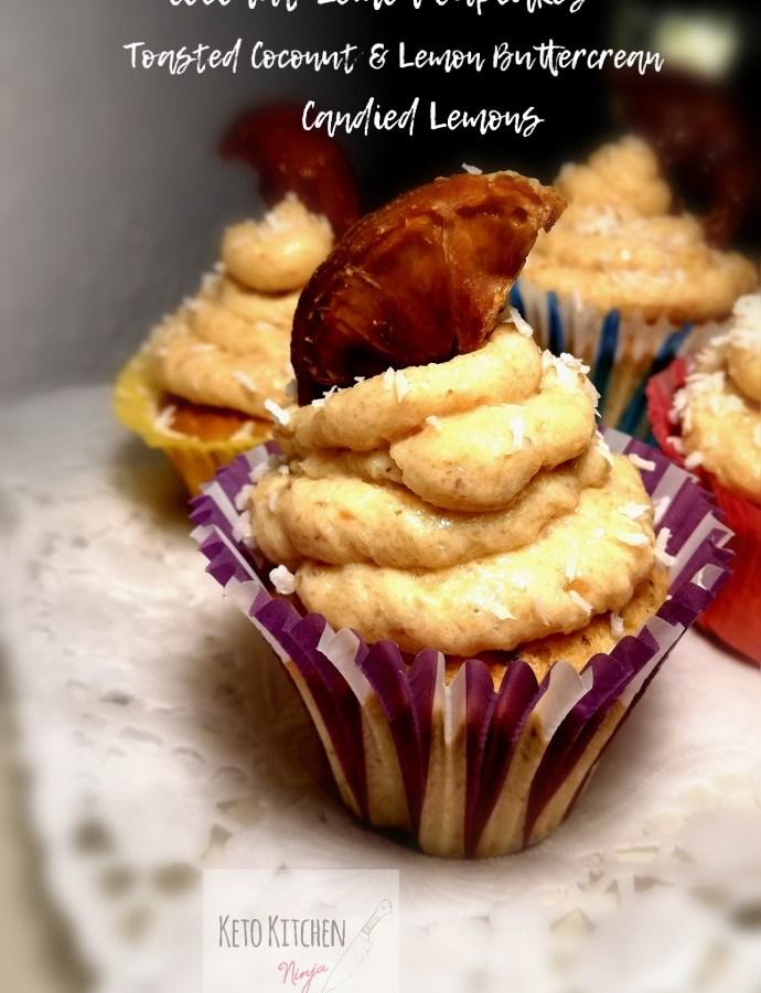 Cupcakes καρύδας/λεμονιού με βουτυρόκρεμα ψημένης καρύδας/λεμονιού