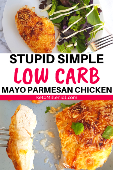 Dinner This easy mayo parmesan chicken keto recipe is to die for!! You need to try this chicken mayo parmesan keto recipe, it's so tender and juicy and will just melt in your mouth!