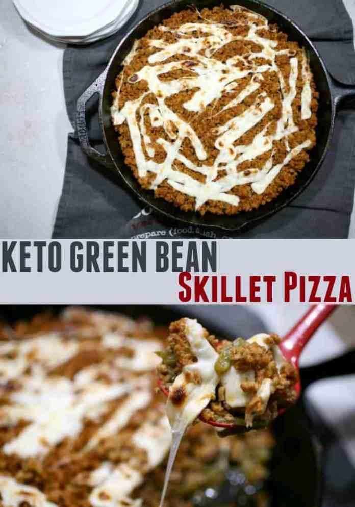 Keto Green Bean Skillet Pizza - Perfect For Keto Family Dinner