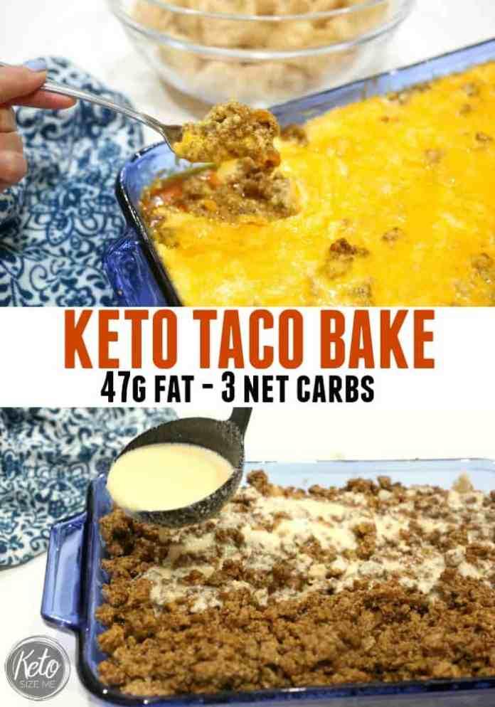 Keto Taco Bake Recipe - 47g fat - 3 Net Carbs - Made with Pork rinds - So delicious