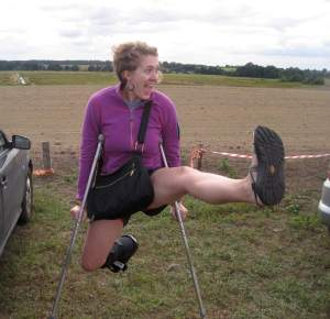 That's me on my way into a music festival in a pasture in Belarus in August, 2015. My leg was broken from a capoeira mishap, hence the crutches.