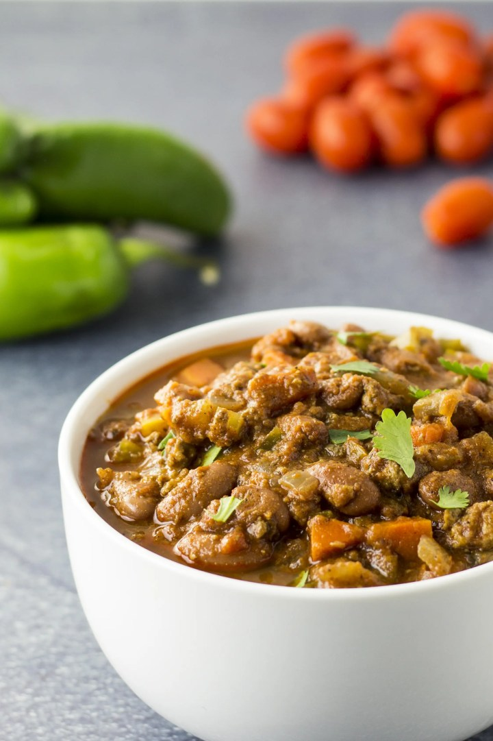 The beautiful thing about this easy vegan chili is that you can customize it to your liking. Make any substitutions as wanted or needed. Better yet, this chili freezes like a dream and tastes even better after a day or two in the refrigerator.
