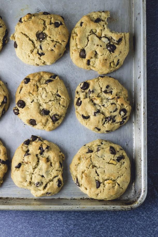 Soft, gooey, vegan chocolate chip cookies