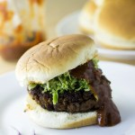 Classic TVP Burger with Fresh Broccoli Slaw