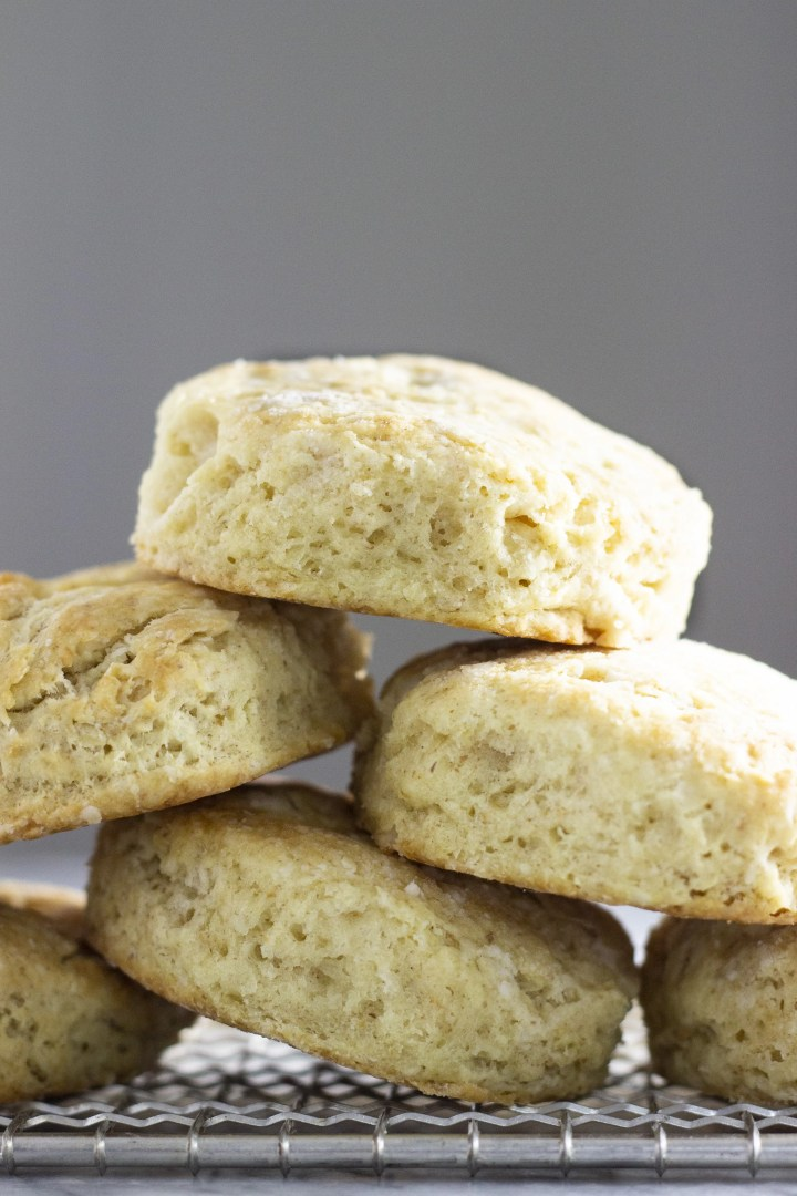 Straight on image of sourdough discard biscuits