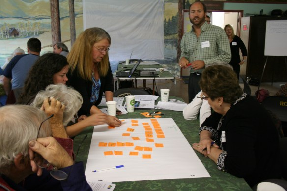 "Nelson Jatel from Okanagan Basin Water Board helps a group of participants through ""social network mapping"" at the October 12 Special Meeting, ""Rethinking our Water Ways."" Credit Pat Kelly, Boundary Creek Times"