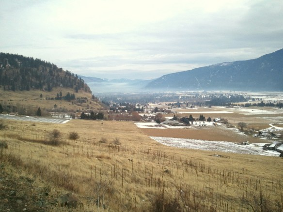 View of the Grand Forks valley in December 2011. Winters will bring less and less snow to the valleys because of climate change (Graham Watt)