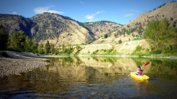 Gabriel Russell navigates the shores of the Kettle River east of Grand Forks (Roly Russell photo)