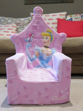 This very girly princess-themed throne was never going to match our lounge decor.