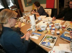 Colleen usually paints in oil-- she likes the quick drying time of egg tempera and the purity of the colors. She quickly figuring out ways to blend and layer her colors in a different way than she does in oil..