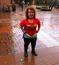 Welfare Woman fighting the terrible weather.
