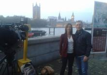 Kevin being interviewed by Lucy Manning for BBC News at Ten
