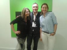 Kevin with Russia Today TV production team, Maria Kosareva and Polly Boiko
