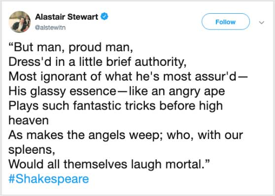 Alistair Stewart Tweet - Alistair Stewart Sacked by ITV for Quoting Shakespeare