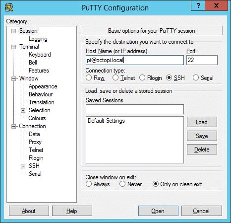 PuTTY settings screen