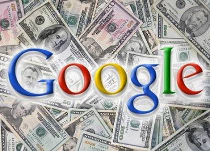 picture of money and the word Google in colors