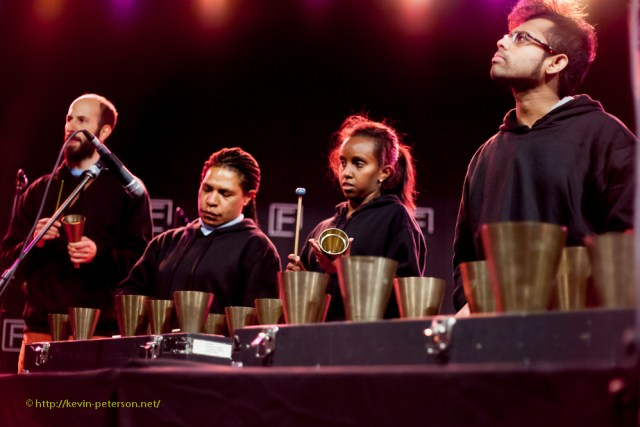 """Federation Hand Bells belonging to the Museum of Vctoria. - Playing """"Welcome"""", composed by Stephen Falk, and performed by advanced students of percussion, and ASRC (Asylum Seeker Resource Centre) musicians."""