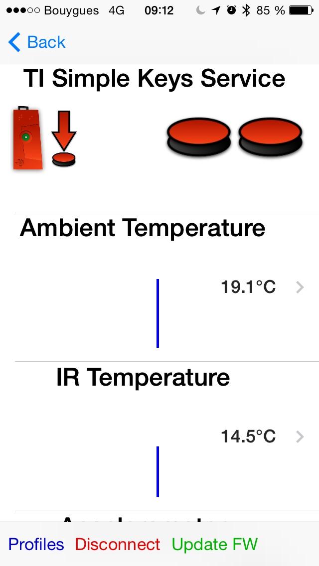 interface du logiciel pour le Sensor Tag CC2541