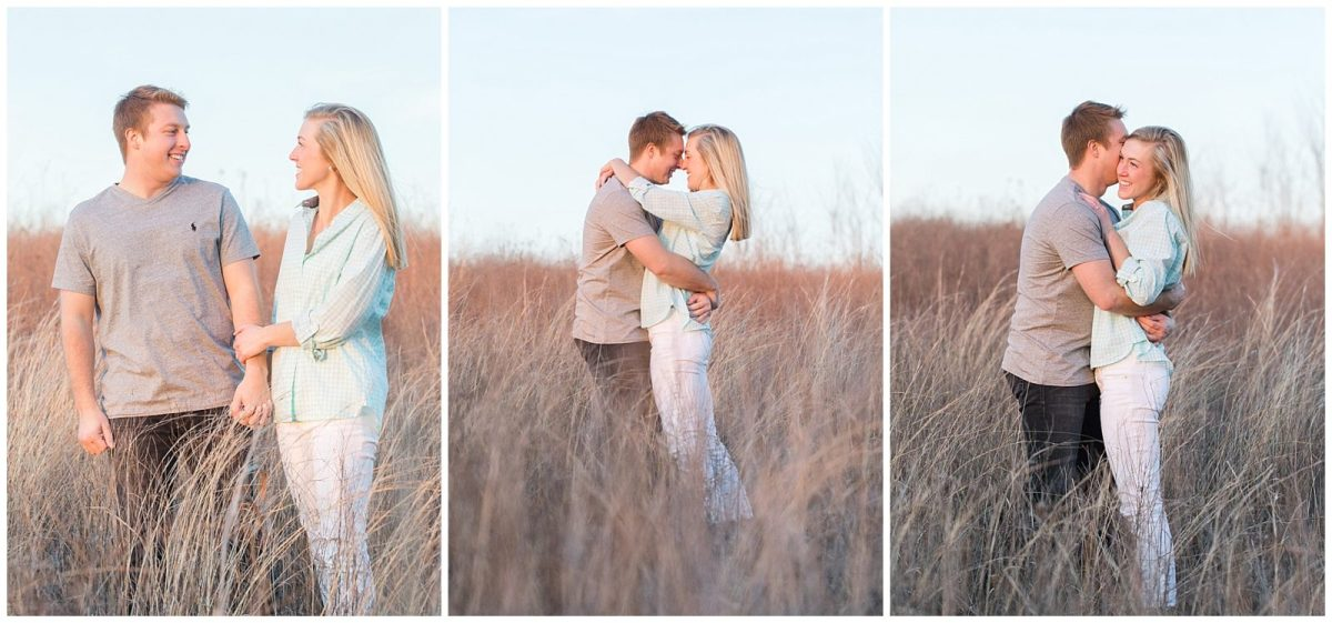 Couple in tall grass during an engagement session at Shaker Village in Harrodsburg, KY.