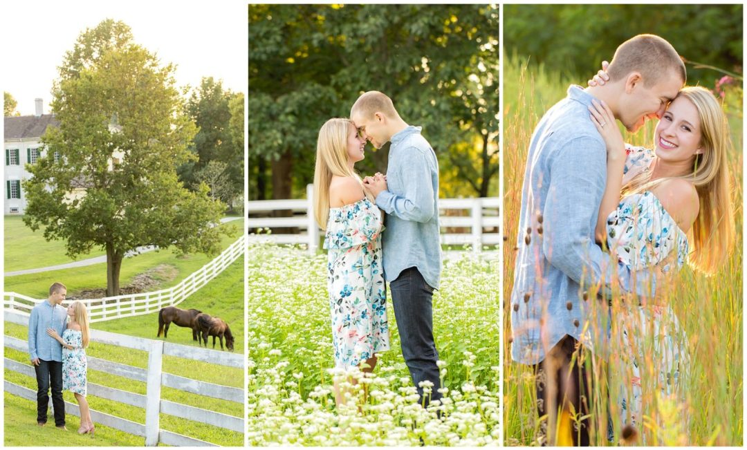 Summer engagement session at Shaker Village in Harrodsburg, Kentucky.