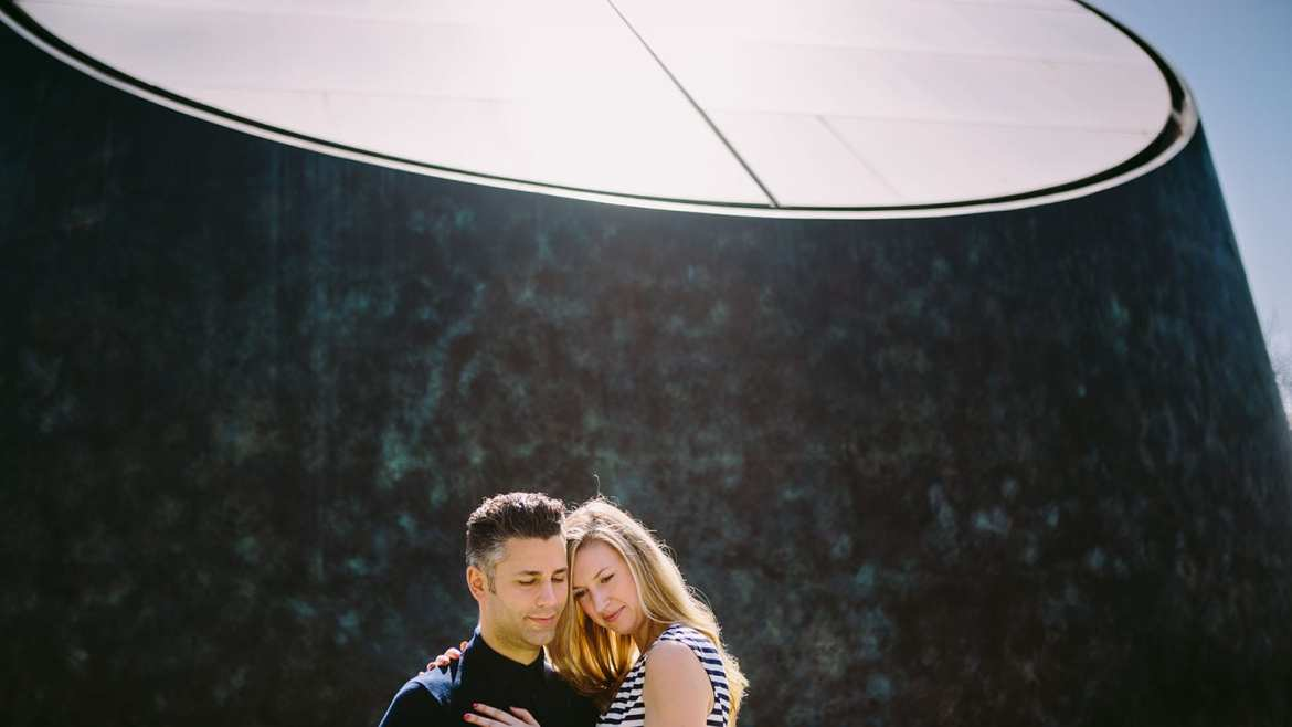Portrait of engaged couple at Greenwich observatory