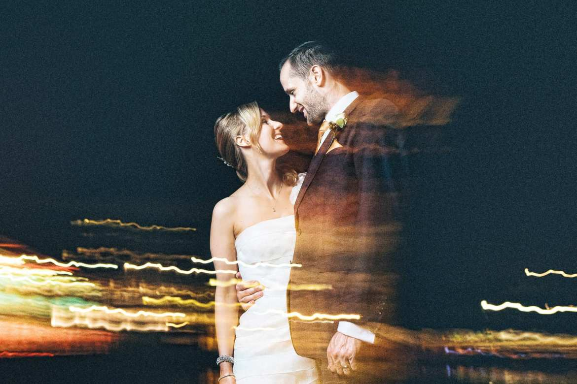 A slow shutter portrait of the newlyweds