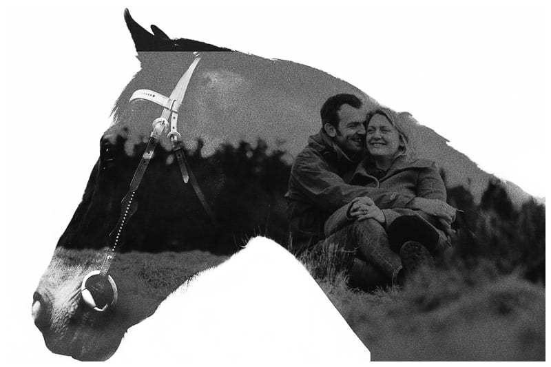A double exposure of a bride and groom and their horse