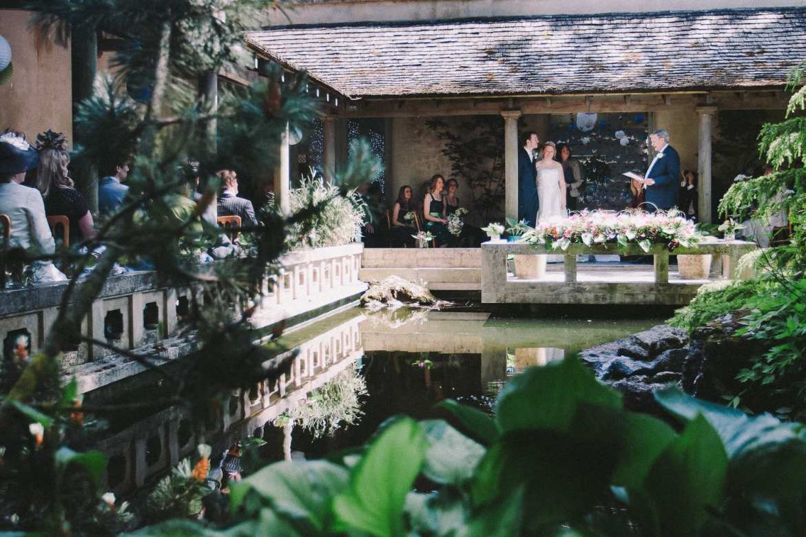 Wedding ceremony in the cloistered garden at Matara