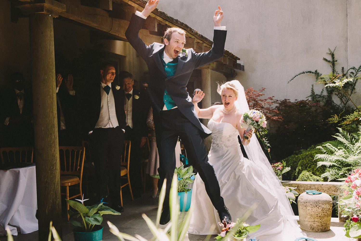 Newly weds jump for joy