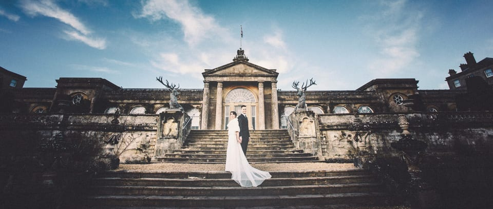 bride and groom at bowood house