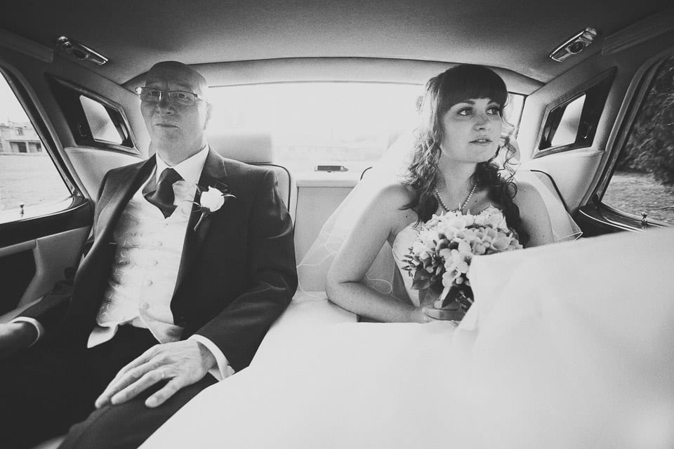 Bride and Dad in Rolls Royce