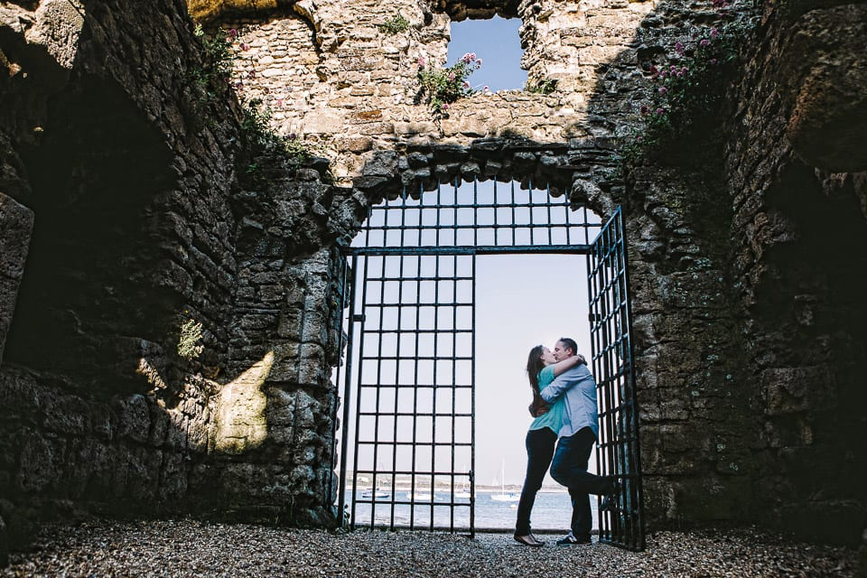 Engagemed couple in Portchester castle