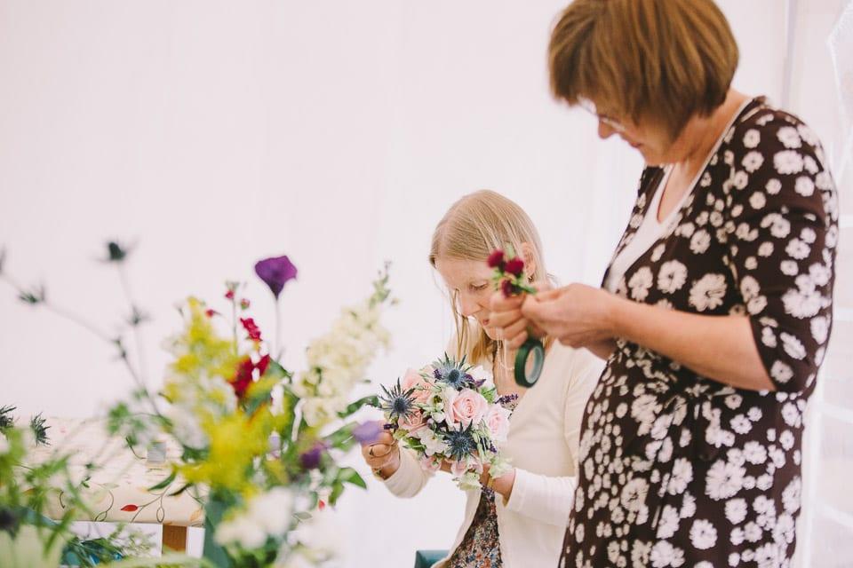 The wedding bouquets are prepared