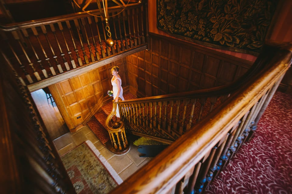 Bride on grand staircase