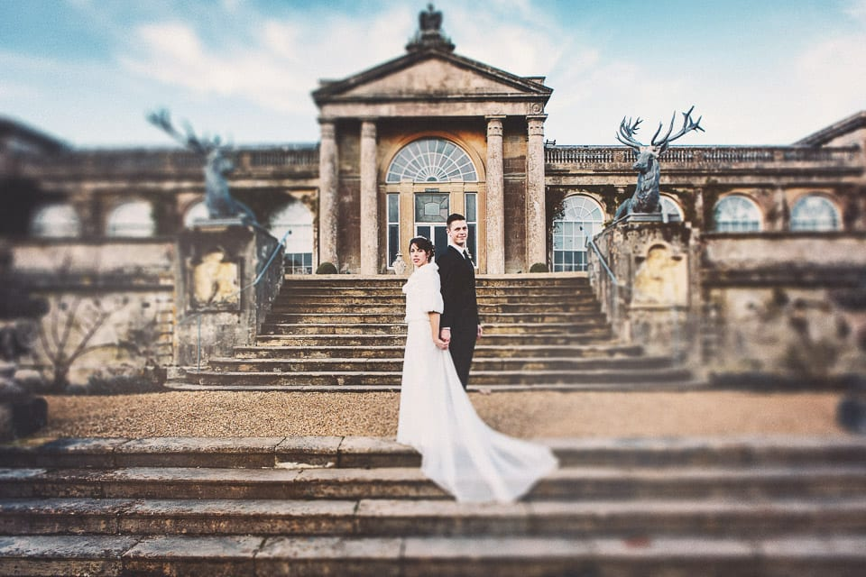 Bride and Groom on the steps of Bowood House