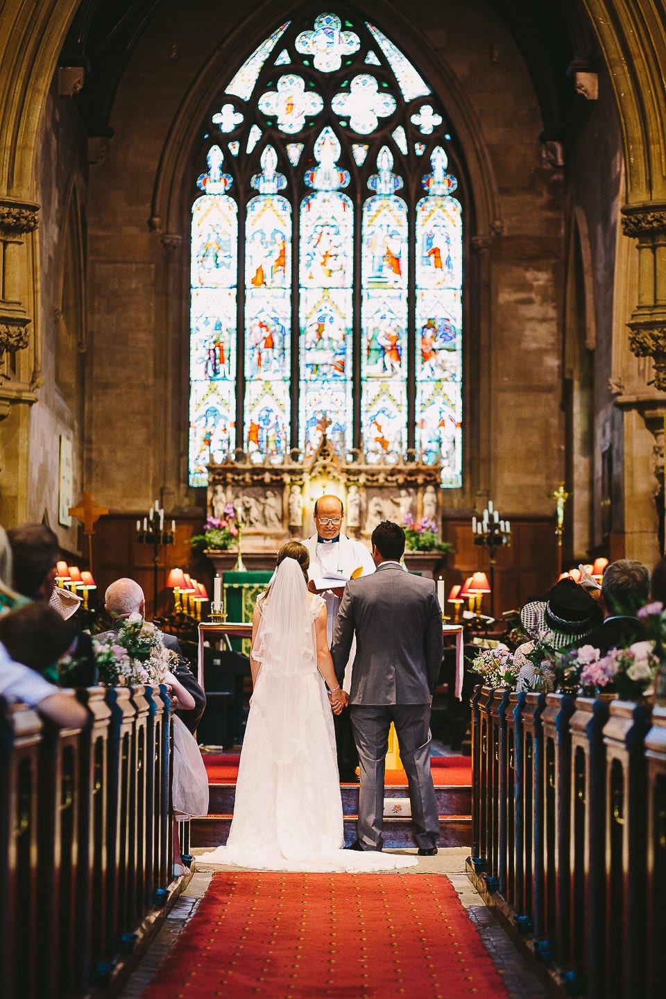 View of the bride and groom from the rear of Christ Church