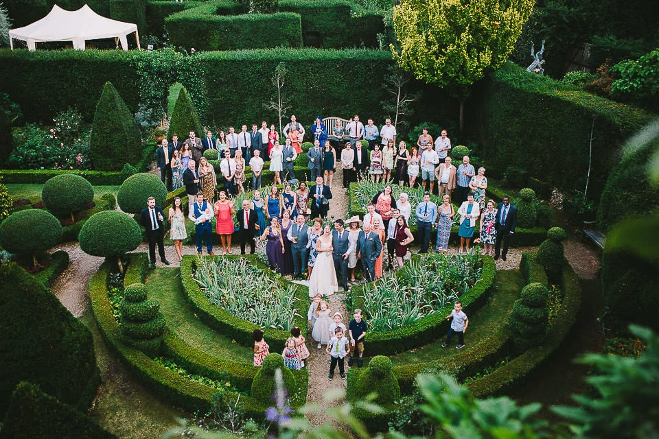 Group shot of all the wedding guests at Abbey House Gardens