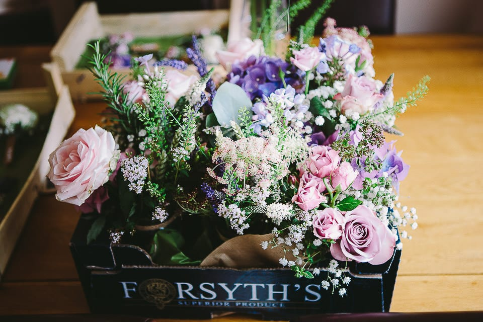 Box containing the bouquets at home